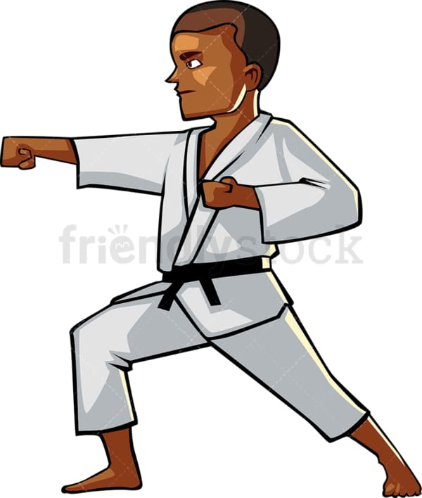 Black male in a typical karate pose. PNG - JPG and vector EPS file formats (infinitely scalable). Image isolated on transparent background.