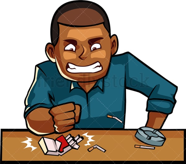 Black man destroying cigarettes. PNG - JPG and vector EPS file formats (infinitely scalable). Image isolated on transparent background.