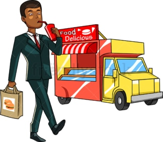 Black man having purchased junk food. PNG - JPG and vector EPS file formats (infinitely scalable). Image isolated on transparent background.