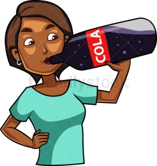 Black woman drinking cola drink. PNG - JPG and vector EPS file formats (infinitely scalable). Image isolated on transparent background.