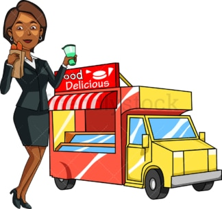 Black woman eating from food truck. PNG - JPG and vector EPS file formats (infinitely scalable). Image isolated on transparent background.