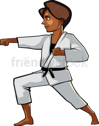 Black woman in karate pose. PNG - JPG and vector EPS file formats (infinitely scalable). Image isolated on transparent background.