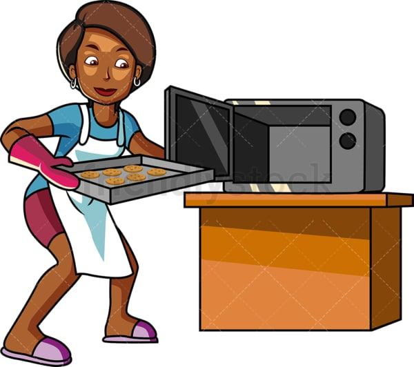 Black woman making home cookies. PNG - JPG and vector EPS file formats (infinitely scalable). Image isolated on transparent background.