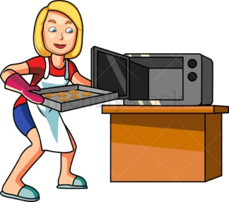 Blonde female cook making cookies. PNG - JPG and vector EPS file formats (infinitely scalable). Image isolated on transparent background.