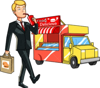 Business man eating from food truck. PNG - JPG and vector EPS file formats (infinitely scalable). Image isolated on transparent background.