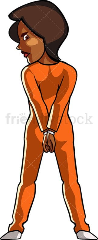 Handcuffed black woman in prison jumpsuit. PNG - JPG and vector EPS file formats (infinitely scalable). Image isolated on transparent background.