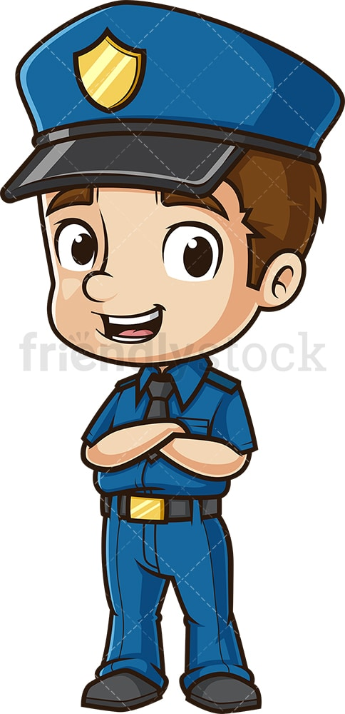 Happy police officer. PNG - JPG and vector EPS (infinitely scalable).