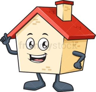 House mascot pointing up. PNG - JPG and vector EPS (infinitely scalable).