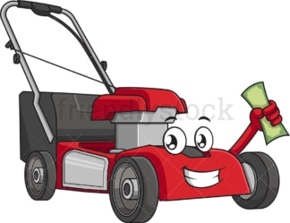 Lawn mower holding money. PNG - JPG and vector EPS (infinitely scalable).