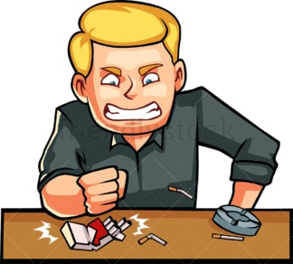 Man angrily smashing a box of cigarettes. PNG - JPG and vector EPS file formats (infinitely scalable). Image isolated on transparent background.