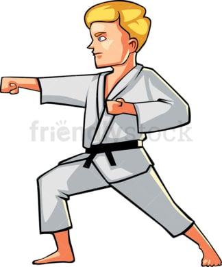 Man in a typical karate pose. PNG - JPG and vector EPS file formats (infinitely scalable). Image isolated on transparent background.