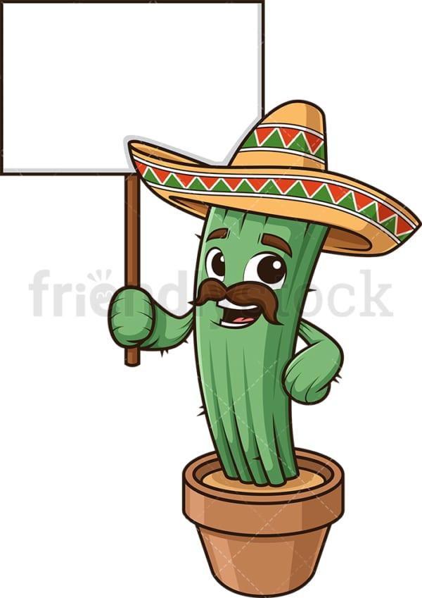 Mexican cactus holding blank sign. PNG - JPG and vector EPS (infinitely scalable).