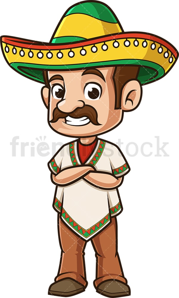 Mexican man arms crossed. PNG - JPG and vector EPS (infinitely scalable).