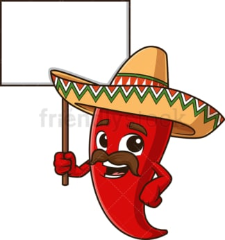 Mexican red pepper holding blank sign. PNG - JPG and vector EPS file formats (infinitely scalable). Image isolated on transparent background.