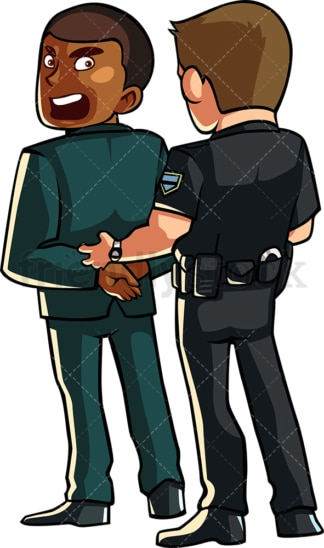 Policeman handcuffing black businessman . PNG - JPG and vector EPS file formats (infinitely scalable). Image isolated on transparent background.