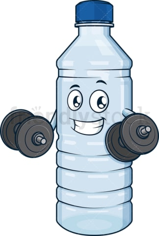 Water bottle lifting weights. PNG - JPG and vector EPS (infinitely scalable).