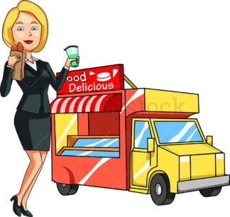 Woman eating hot dogs from food truck. PNG - JPG and vector EPS file formats (infinitely scalable). Image isolated on transparent background.