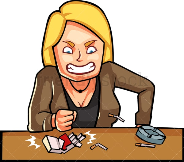 Woman smoker destroying cigarettes. PNG - JPG and vector EPS file formats (infinitely scalable). Image isolated on transparent background.