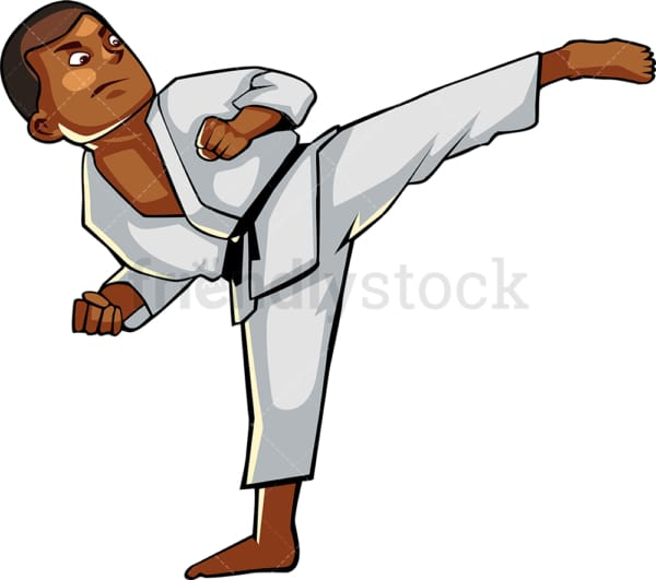 Black male executing a high kick. PNG - JPG and vector EPS file formats (infinitely scalable). Image isolated on transparent background.