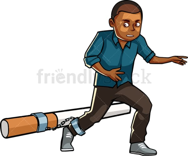 Black man chained to large cigarette. PNG - JPG and vector EPS file formats (infinitely scalable). Image isolated on transparent background.