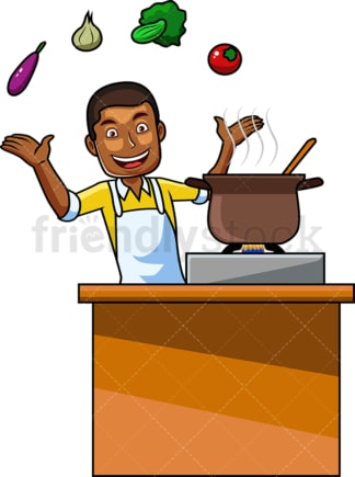 Black man cooking with vegetables. PNG - JPG and vector EPS file formats (infinitely scalable). Image isolated on transparent background.