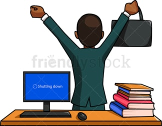 Black man leaving the office late. PNG - JPG and vector EPS file formats (infinitely scalable). Image isolated on transparent background.