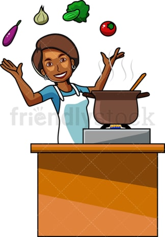 Black woman cooking with vegetables. PNG - JPG and vector EPS file formats (infinitely scalable). Image isolated on transparent background.