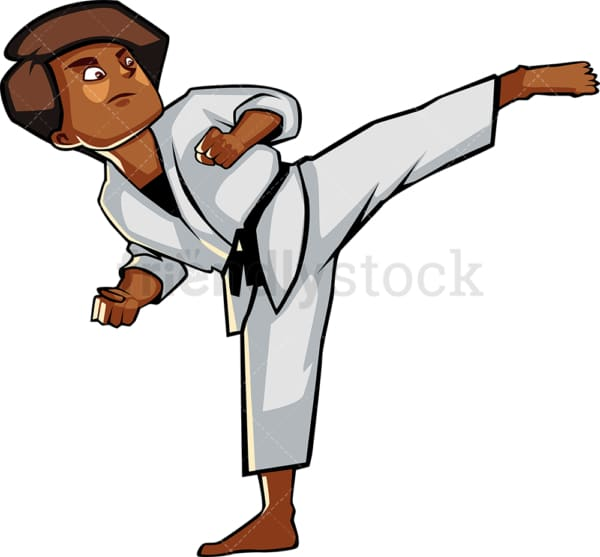 Black woman executing a high kick. PNG - JPG and vector EPS file formats (infinitely scalable). Image isolated on transparent background.