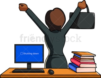 Black woman leaving work late. PNG - JPG and vector EPS file formats (infinitely scalable). Image isolated on transparent background.