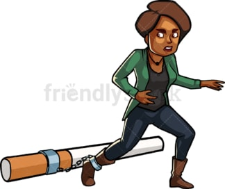 Black woman shackled to large cigarette. PNG - JPG and vector EPS file formats (infinitely scalable). Image isolated on transparent background.