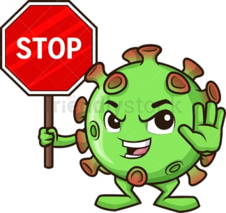 Coronavirus holding stop sign. PNG - JPG and vector EPS (infinitely scalable).