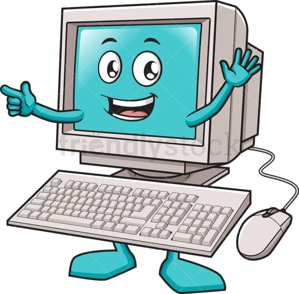 Happy desktop computer waving. PNG - JPG and vector EPS (infinitely scalable).