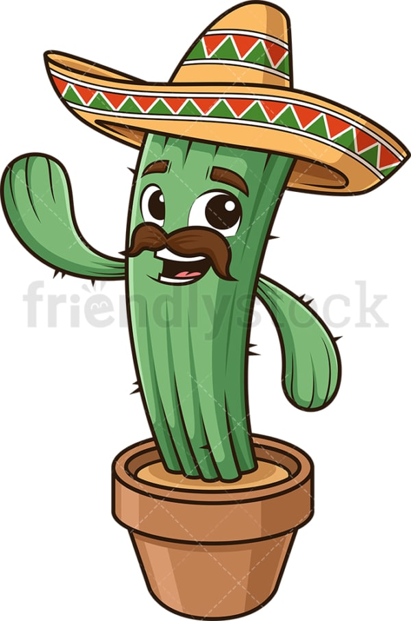 Happy mexican cactus waving. PNG - JPG and vector EPS (infinitely scalable).
