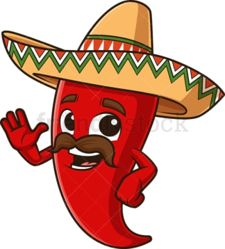 Happy mexican red pepper waving. PNG - JPG and vector EPS file formats (infinitely scalable). Image isolated on transparent background.
