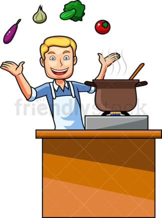 Man cooking with vegetables. PNG - JPG and vector EPS file formats (infinitely scalable). Image isolated on transparent background.