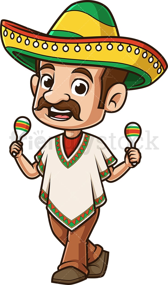 Mexican man dancing to maracas. PNG - JPG and vector EPS (infinitely scalable).