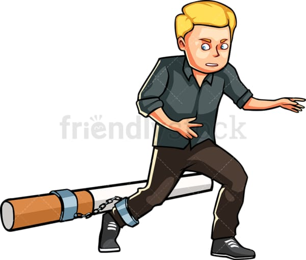 Smoker man shackled to large cigarette. PNG - JPG and vector EPS file formats (infinitely scalable). Image isolated on transparent background.