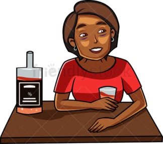 Tipsy black woman drinking alcohol. PNG - JPG and vector EPS file formats (infinitely scalable). Image isolated on transparent background.