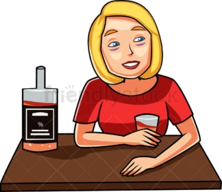 Tipsy woman drinking alcohol. PNG - JPG and vector EPS file formats (infinitely scalable). Image isolated on transparent background.