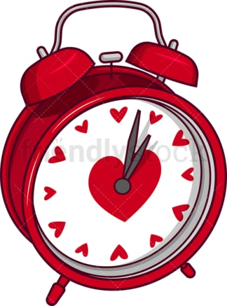 Valentine's day alarm clock. PNG - JPG and vector EPS file formats (infinitely scalable). Image isolated on transparent background.