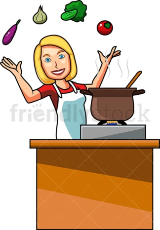 Woman cooking with vegetables. PNG - JPG and vector EPS file formats (infinitely scalable). Image isolated on transparent background.