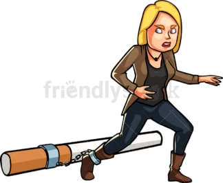 Woman trying to break free from smoking. PNG - JPG and vector EPS file formats (infinitely scalable). Image isolated on transparent background.
