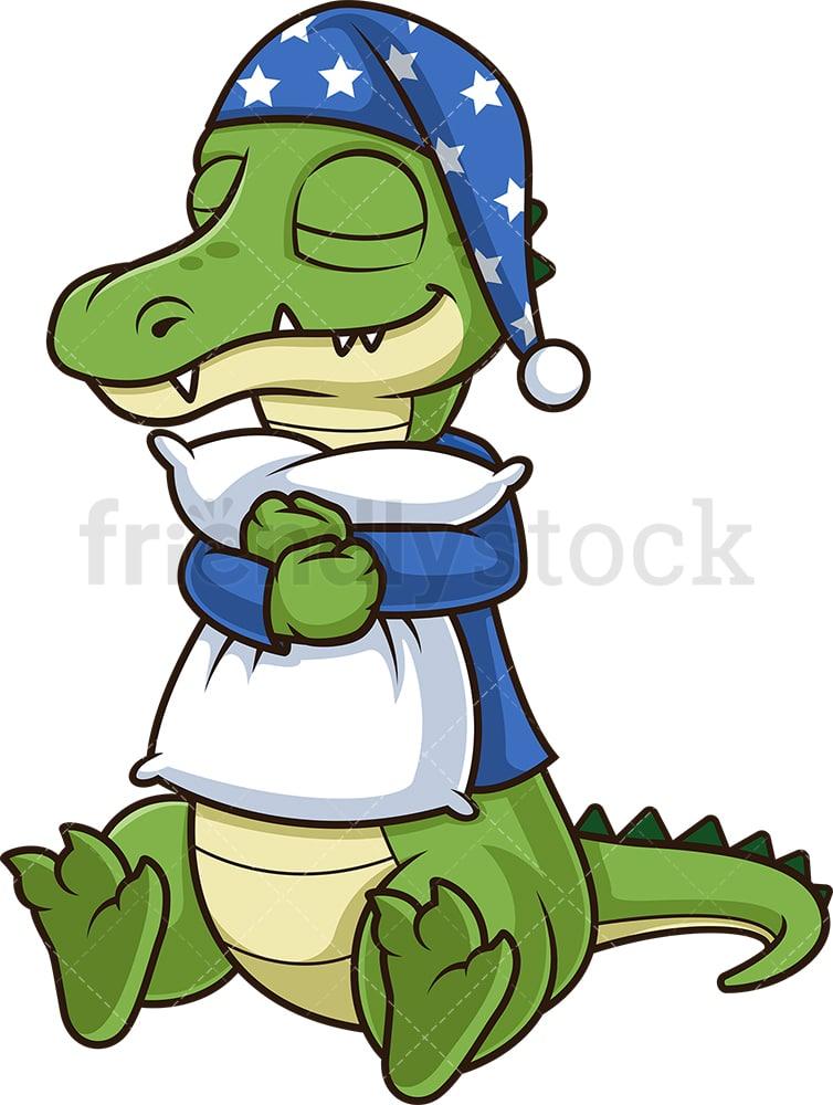 Alligator Sleeping Cartoon Clipart Vector Friendlystock
