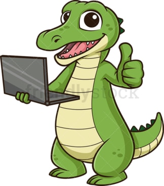 Alligator with laptop. PNG - JPG and vector EPS (infinitely scalable).