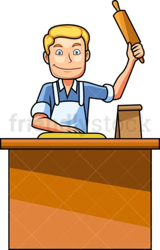 Baking man with rolling pin. PNG - JPG and vector EPS file formats (infinitely scalable). Image isolated on transparent background.