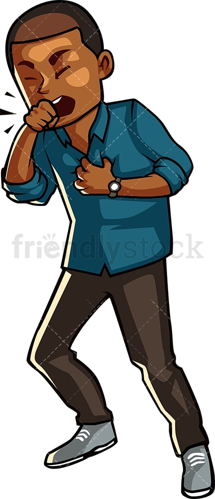 Black guy coughing. PNG - JPG and vector EPS file formats (infinitely scalable). Image isolated on transparent background.