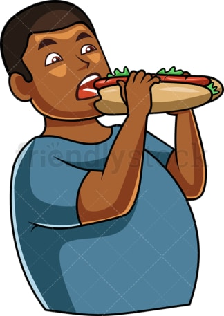 Black man eating submarine-style sandwich. PNG - JPG and vector EPS file formats (infinitely scalable). Image isolated on transparent background.