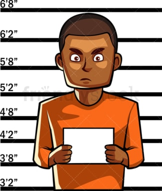 Black man police mugshot. PNG - JPG and vector EPS file formats (infinitely scalable). Image isolated on transparent background.