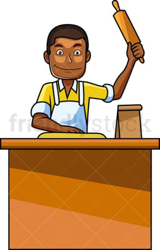 Black man using rolling pin. PNG - JPG and vector EPS file formats (infinitely scalable). Image isolated on transparent background.