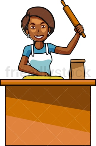 Black woman baking with rolling pin. PNG - JPG and vector EPS file formats (infinitely scalable). Image isolated on transparent background.